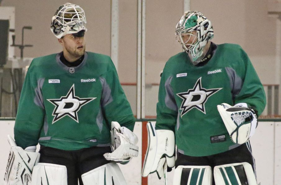 Dallas Stars goalies Antti Niemi, left, and Kari Lehtonen are pictured at practice at the Dallas Stars practice facility in Frisco on Monday, October 5, 2015. (Louis DeLuca/The Dallas Morning News)