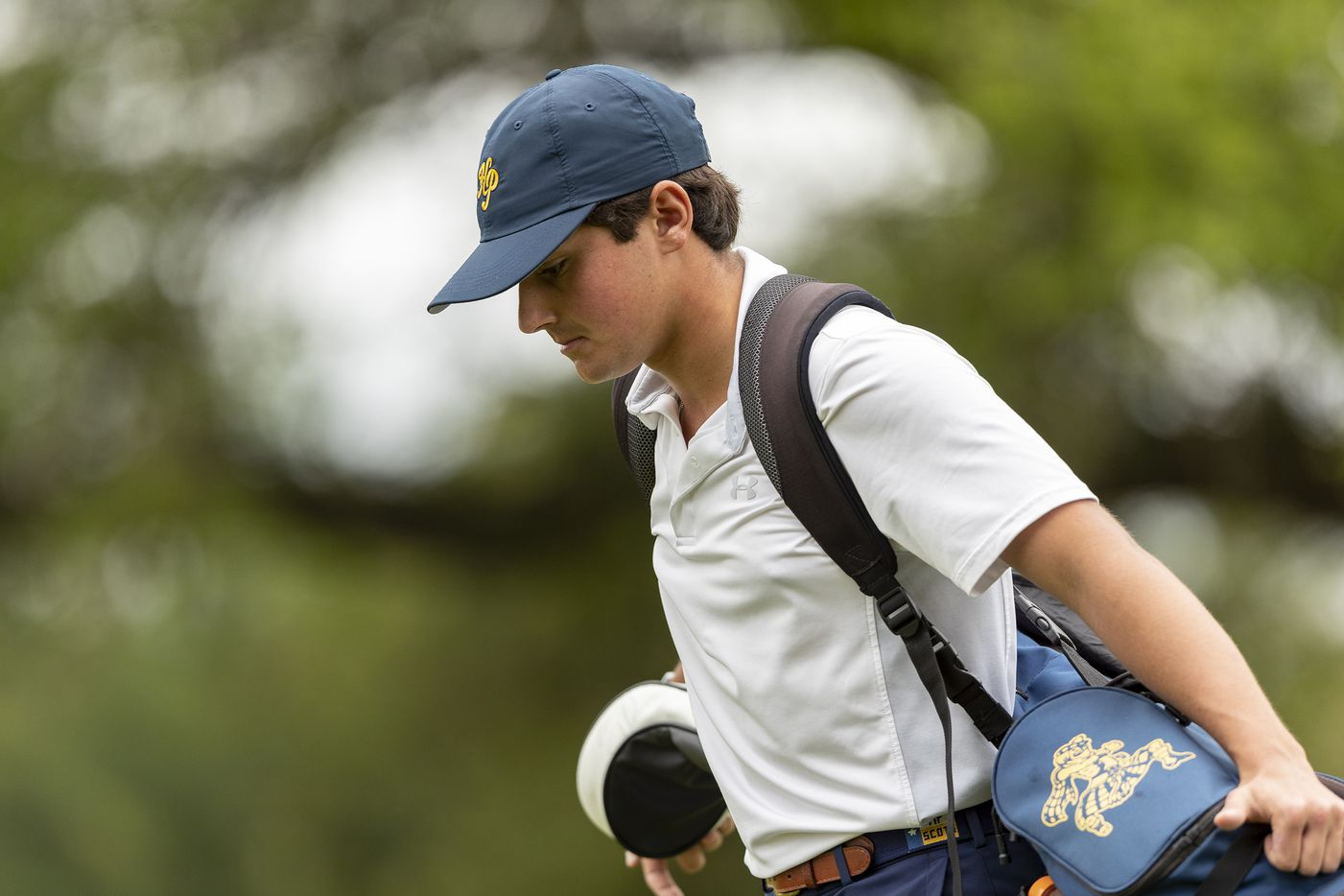 Highland ParkÕs Hudson Weibel walks to his ball on the 11th hole during round 1 of the UIL Class 5A boys golf tournament in Georgetown, Monday, May 17, 2021. (Stephen Spillman/Special Contributor)