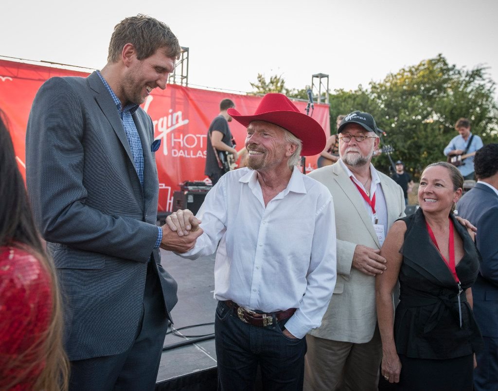 Dallas Mavericks Dirk Novitzki greets Richard Branson during the ground breaking for his Virgin Hotel in the Design District on Monday, Oct. 17, 2016.   (Rex C. Curry/Special Contributor)
