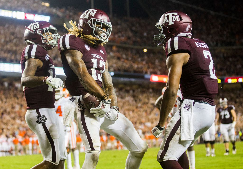 Texas A&M Aggies wide receiver Kendrick Rogers (13) celebrates after scoring a touchdown during the third quarter of a college football game between the Clemson Tigers and the Texas A&M Aggies on Saturday, September 8, 2018 at Kyle Field in College Station, Texas.