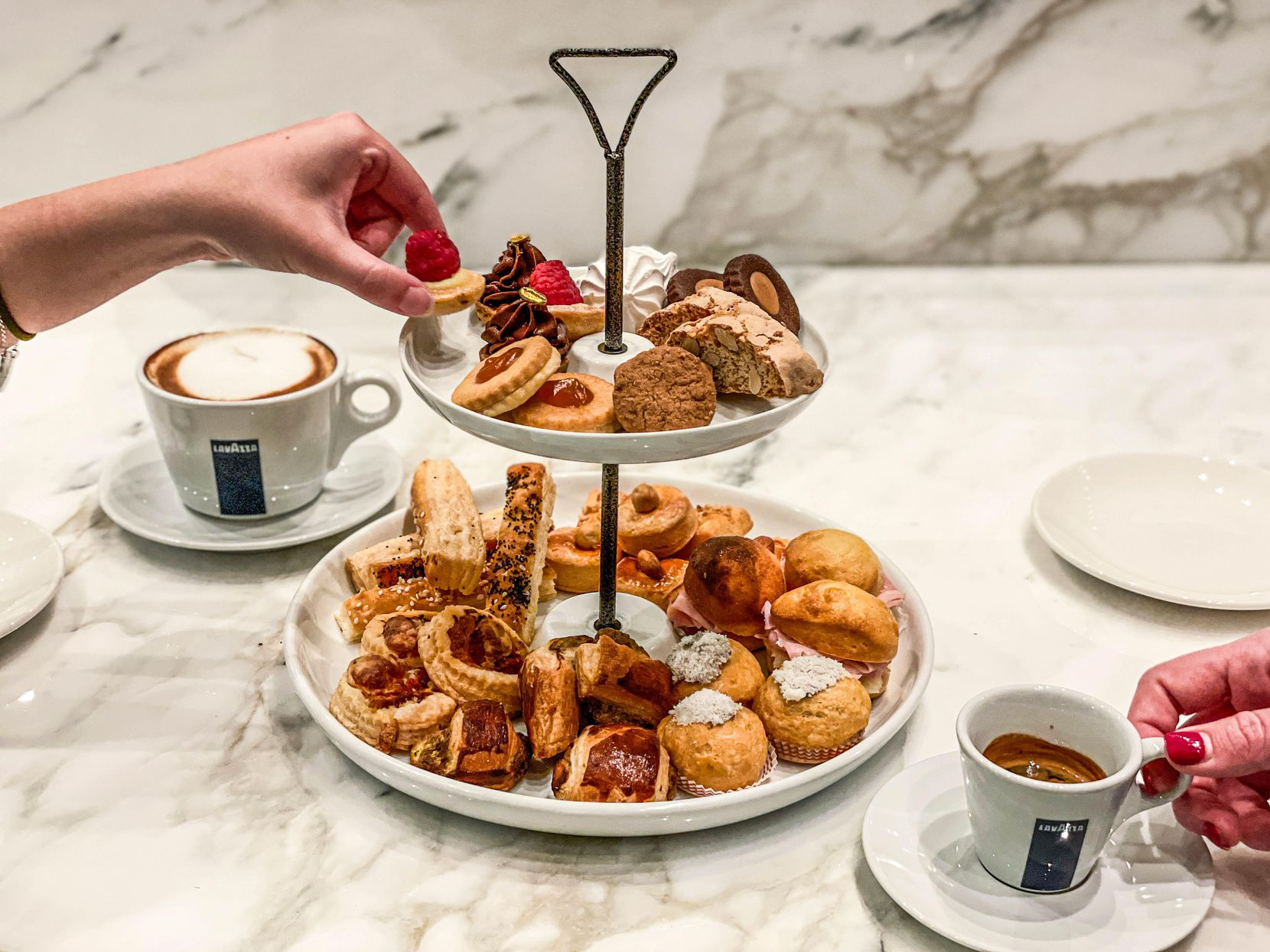 One of the menu items at Caffe Lavazza inside Eataly Dallas is la torre, a tower of shareable snacks.
