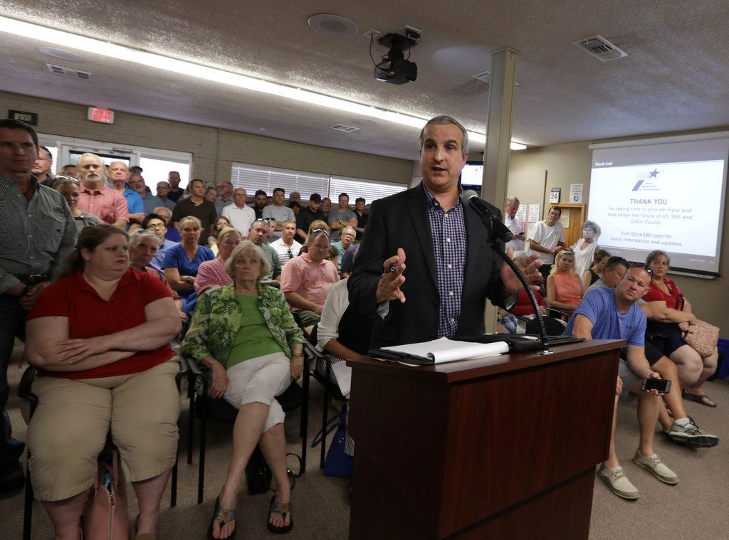 TxDOT project manager Stephen Endres discussed with Prosper residents and leaders potential alignments to improve U.S. Highway 380 on July 24 at the former Prosper Municipal Chambers.