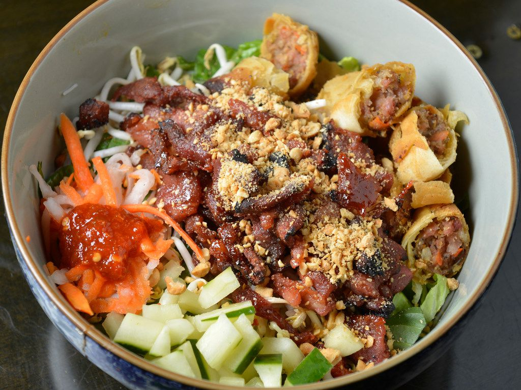 Bun Thit Nuong (charbroiled pork vermicelli) at Cosmo's in Dallas, Texas on July 11, 2018. (Robert W. Hart/Special Contributor)
