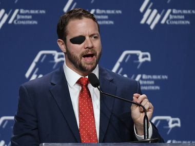 Houston Rep. Dan Crenshaw speaks at the Republican Jewish Coalition's annual leadership meeting at The Venetian Las Vegas on April 6, 2019.