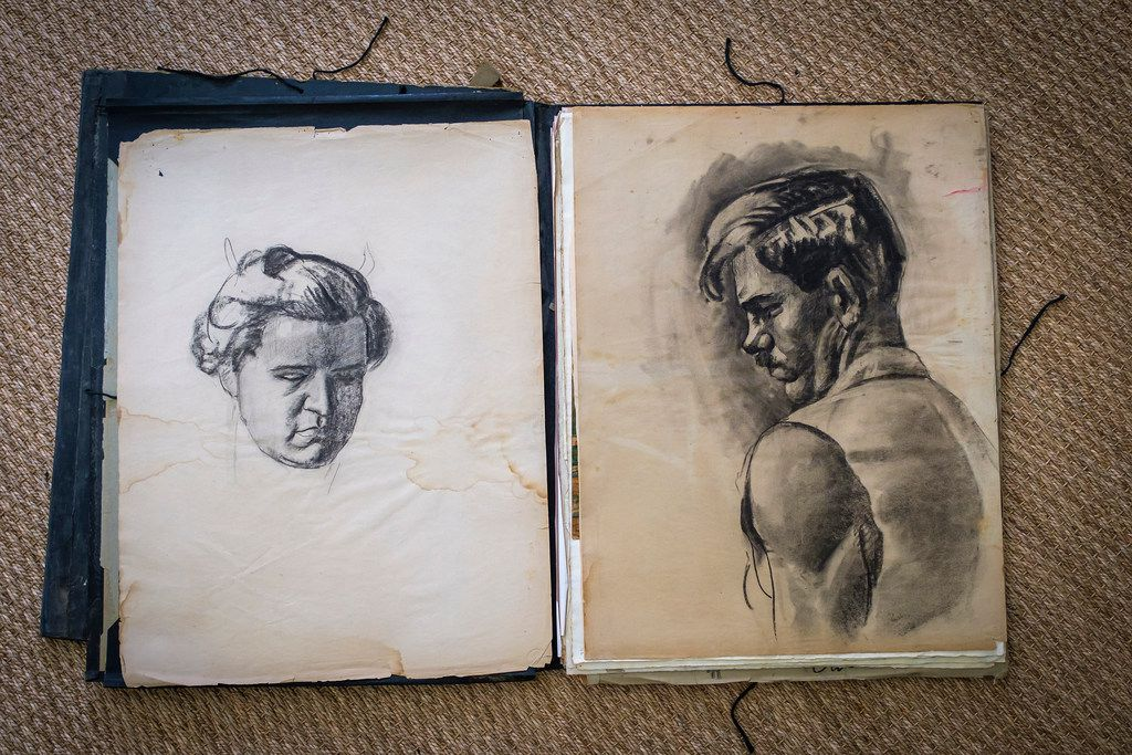A sketch book of Michael G. Owen Jr. is seen at David Dike Fine Art  on Thursday, Sept. 12, 2019, in Dallas.  The gallery has recently come into possession of a number of materials by the Depression-era Dallas artist. (Smiley N. Pool/The Dallas Morning News)