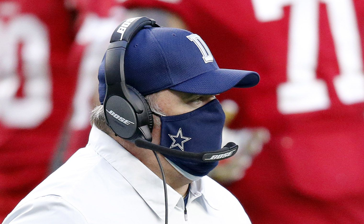 Dallas Cowboys head coach Mike McCarthy walks back to the sideline following a players injury in the second quarter against the San Francisco 49ers at AT&T Stadium in Arlington, Texas, Sunday, December 20, 2020.