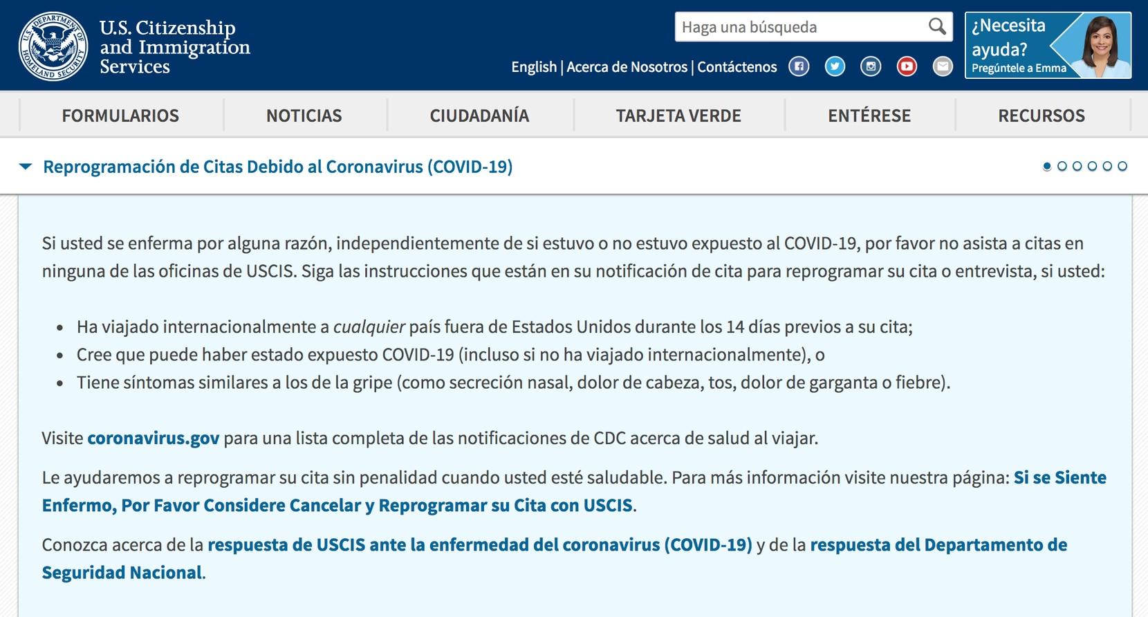 Anuncio en el sitio web de USCIS por coronavirus.
