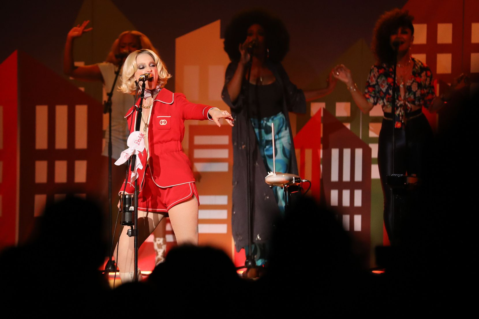 Saturday's show was for long stretches a '70s dance party led by St. Vincent and three female vocalists who backed her up.