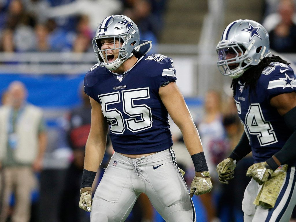 Dallas Cowboys outside linebacker Leighton Vander Esch (55) celebrates after a defensive stop in a game against the Detroit Lions during the first half of play at Ford Field in Detroit, on Sunday, November 17, 2019. (Vernon Bryant/The Dallas Morning News)