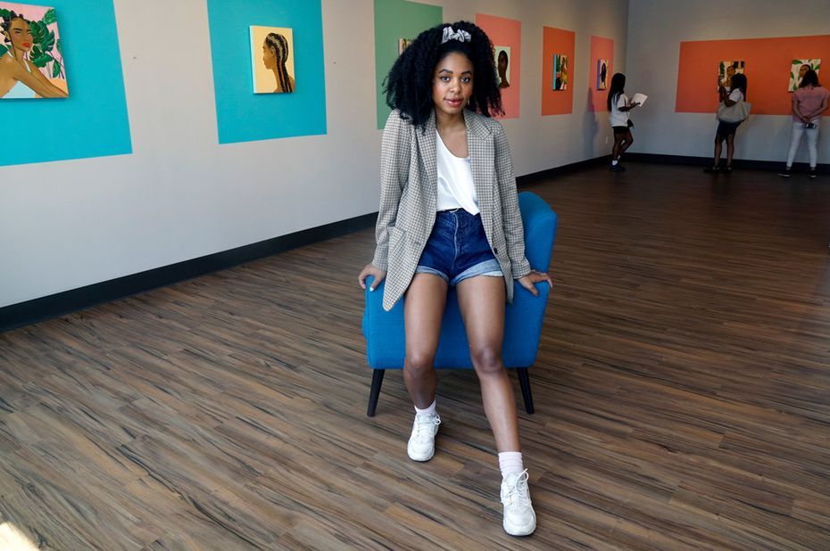 """Artist Ari Brielle's exhibition """"Safe Place"""" is being displayed at the Oak Cliff Cultural Center in Dallas. Her work explores the challenges of African American women in today's society."""
