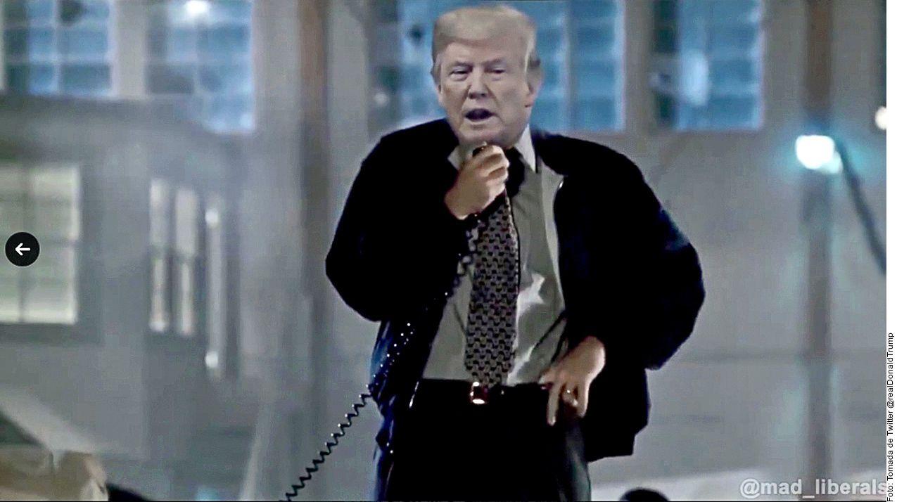 El Presidente Donald Trump compartió un video donde un usuario sobrepuso su rostro sobre el del personaje de Bill Pullman en la película 'Día de la Independencia'.