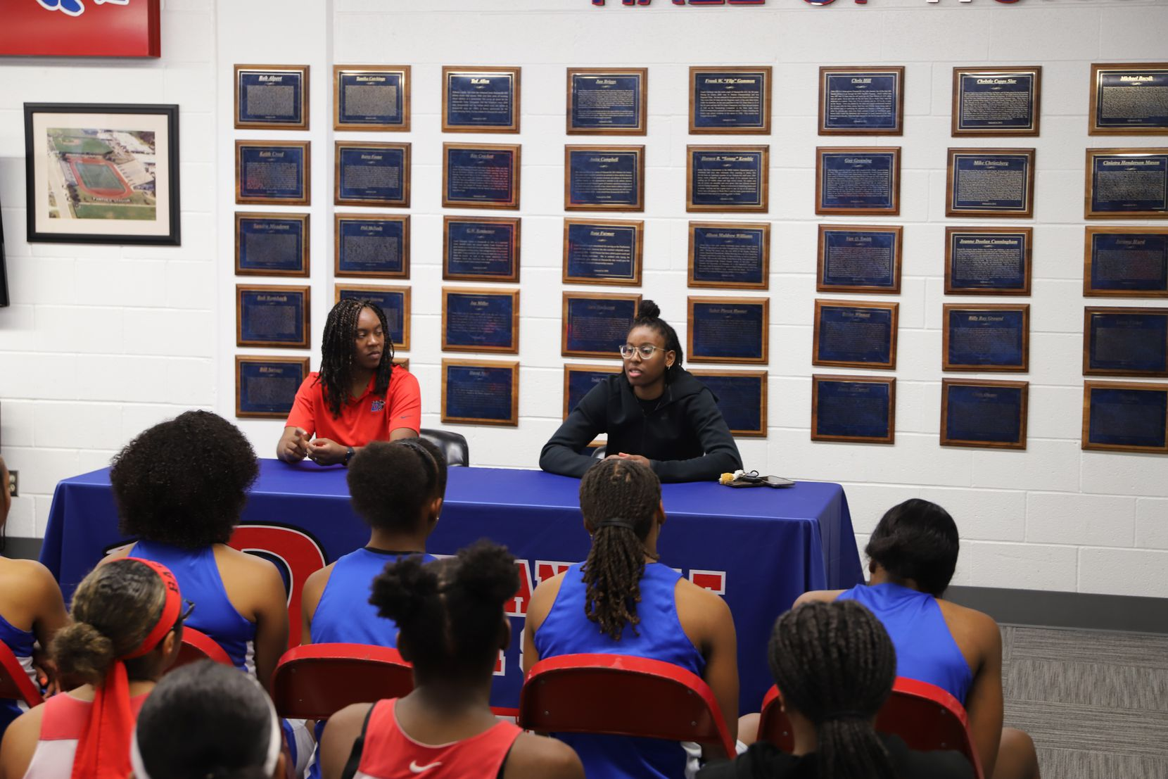Ariel Atkins, a member of the 2012 and 2013 state championship teams at Duncanville High School, returned to the school to speak to members of the basketball team about her experiences in the WNBA.  She plays for the WNBA champion Washington Mystics.