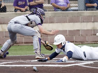 Jesuit's David Long slides safely home to score a run ahead of Richardson catcher Marcus Peters during a district 7-6A game at Jesuit College Preparatory in Dallas, Saturday, April 24, 2021. (Elias Valverde II / Special Contributor)