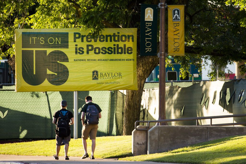 A sign on the Baylor University campus touted National Sexual Assault Awareness Month in May 2016.