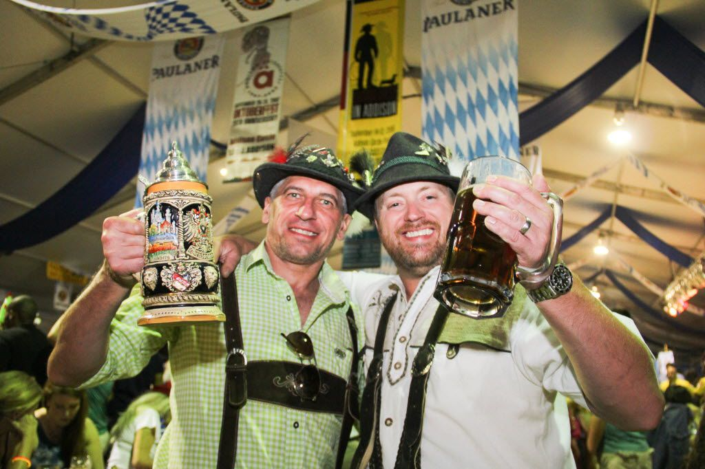 Antomio Cchirca and Paul Grein enjoyed the beer at Oktoberfest in Addison  four day celebration this past weekend which featured a midway with rides and live music brats and beer.