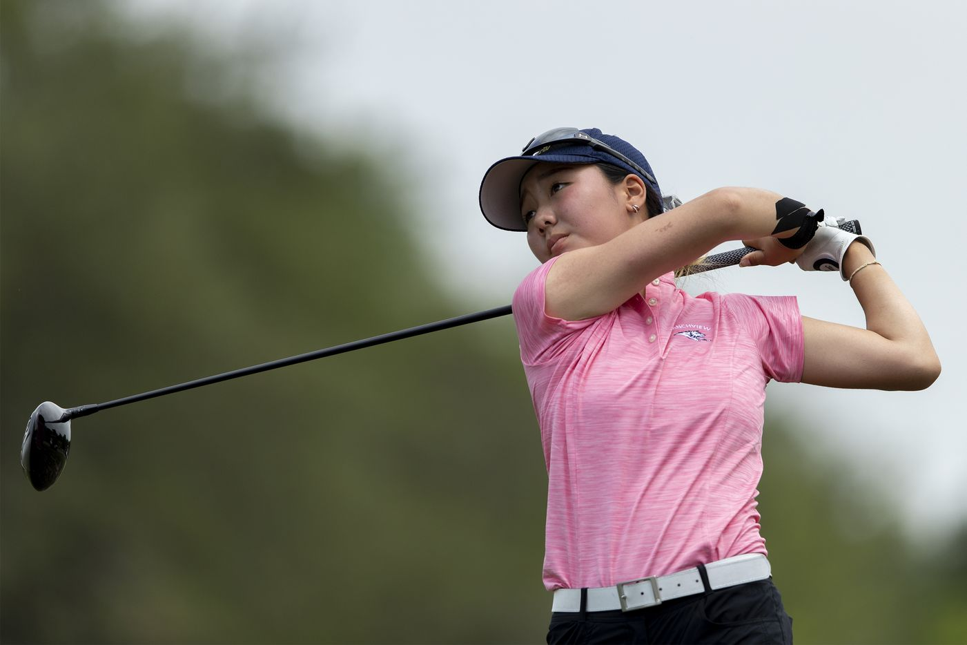 Carrollton Ranchview's Bohyun Park hits from the 15th tee box during the final day of the UIL Class 4A girls golf tournament in Kyle, Tuesday, May 11, 2021. (Stephen Spillman/Special Contributor)