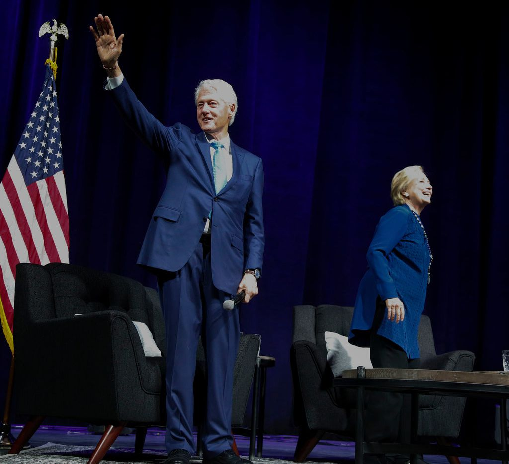 Former President Bill Clinton and former Democratic presidential candidate Hillary Clinton didn't deliver prepared speeches at the ticketed event on Nov. 17, 2017 in Irving; they simply walked out on stage and answered moderator Danny Eaton's questions.