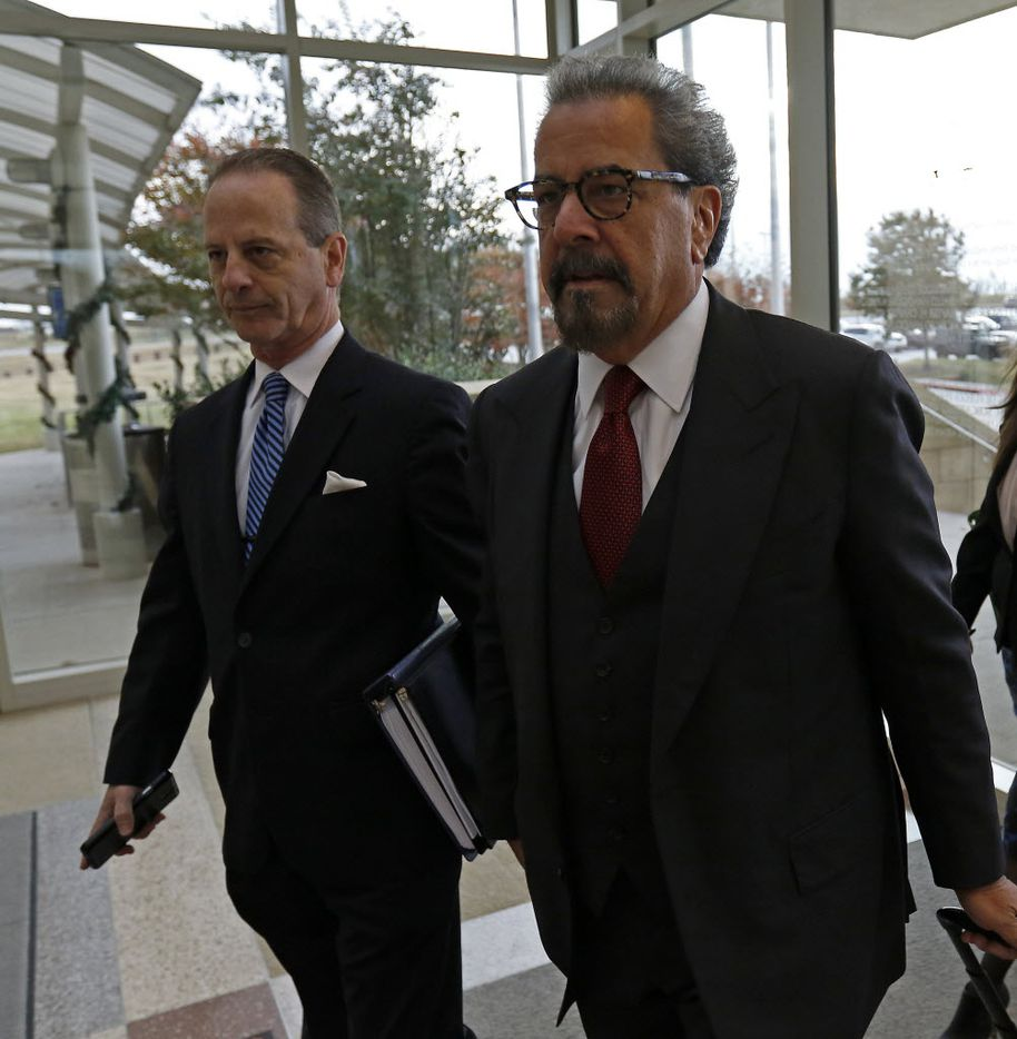 Special prosecutors Brian Wice, left, and Kent Schaffer attended a pre-trial motion hearing in December in McKinney in the Texas Attorney General Ken Paxton criminal case. (Jae S. Lee/The Dallas Morning News)