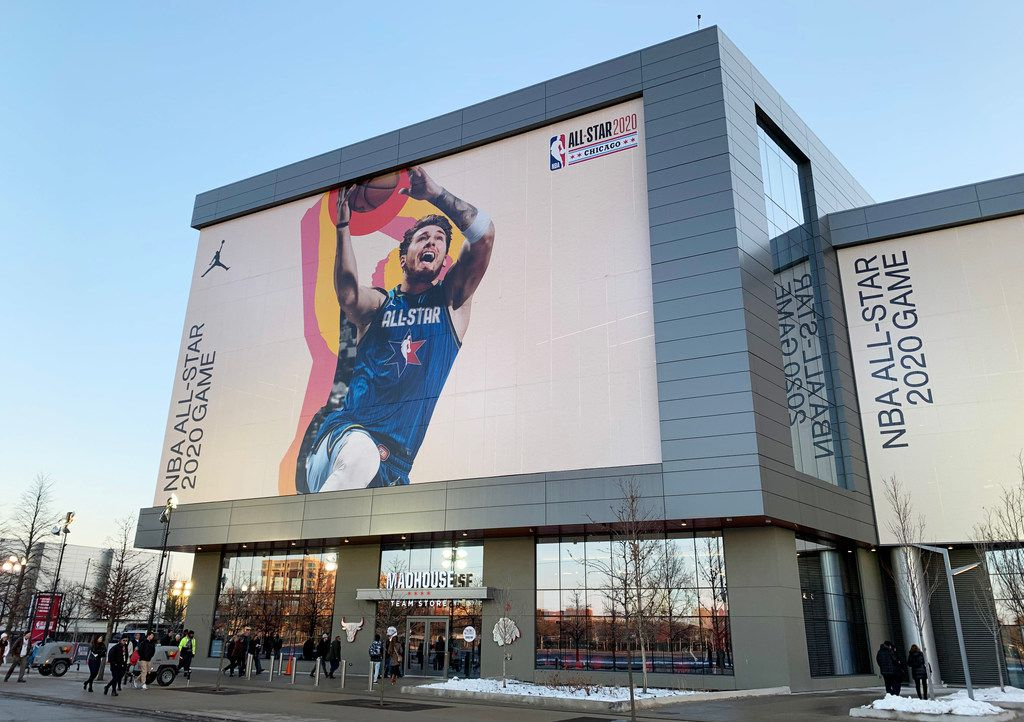 Dallas Mavericks Luka Doncic's image on the wall of the United Center promoting the NBA All-Star 2020 game to be played at the United Center in Chicago on Sunday, February 16, 2020. (Vernon Bryant/The Dallas Morning News)