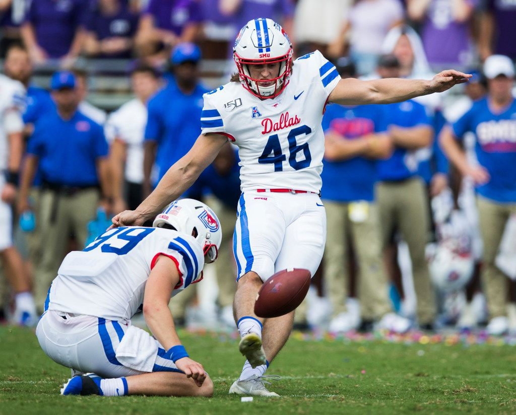 Southern Methodist Mustangs place kicker Luke Hogan (46) kicks a field goal during the first quarter of a college football game between SMU and TCU on Saturday, September 21, 2019 at Amon G. Carter Stadium in Fort Worth.