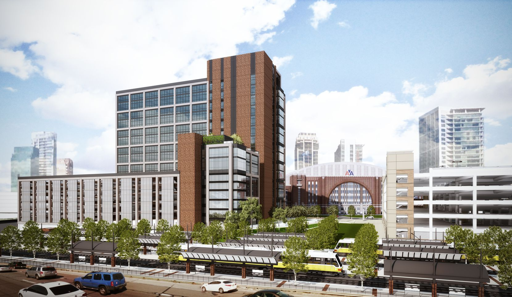 The new Victory Commons office project is next door to DART's Victory Park commuter rail station.