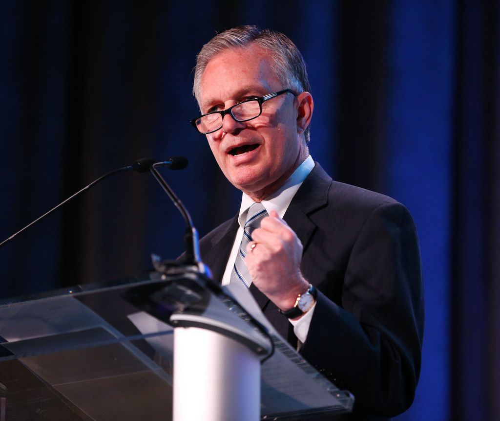 Dale Petroskey, president of the Dallas Regional Chamber, announces that the DFW region is a finalist for consideration in Amazon's second headquarters before the Dallas Regional Chamber's annual luncheon at the Hilton Anatole in Dallas on Thursday, Jan. 18, 2018. (Rose Baca/The Dallas Morning News)