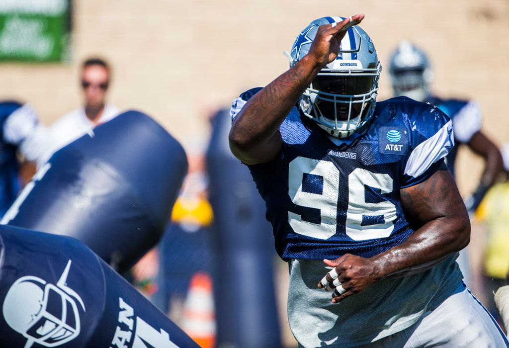 Dallas Cowboys defensive tackle Maliek Collins (96) attacks a dummy during an afternoon practice at training camp in Oxnard, California on Thursday, August 1, 2019. (Ashley Landis/The Dallas Morning News)