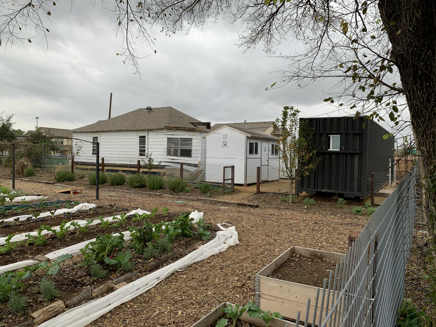 Behind Bonton Farms on Bexar Street, a homeless family and others live in Pallet shelters next to an empty house Daron Babcock hopes to transform into a bakery.