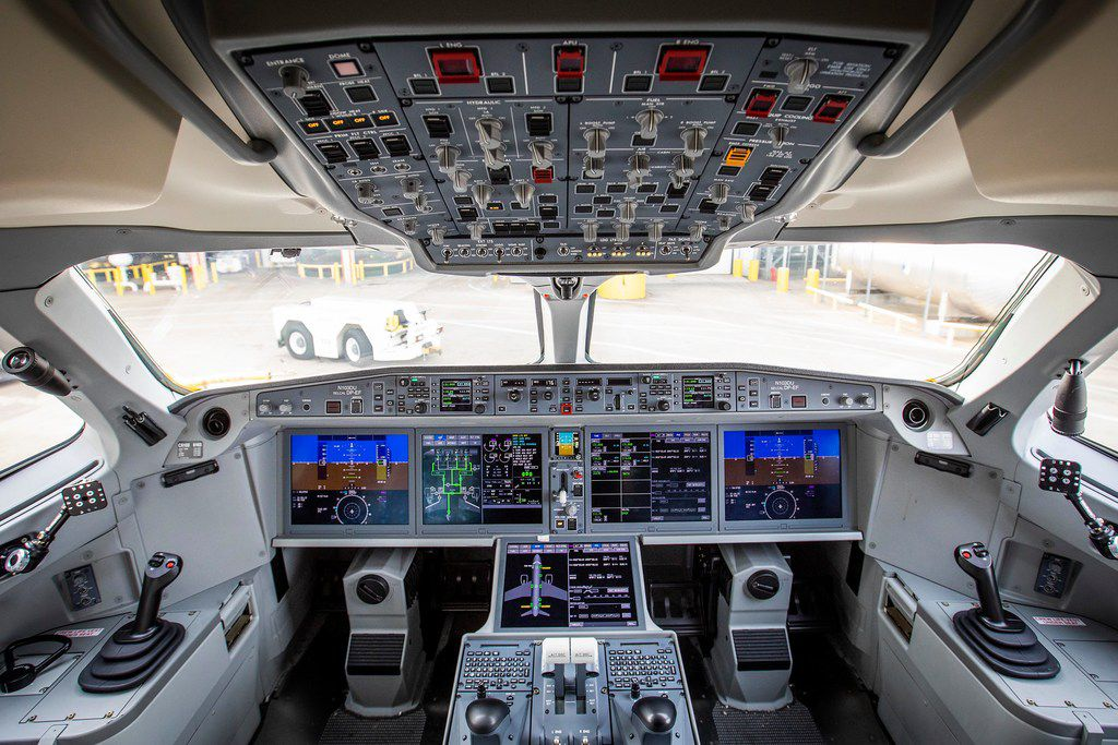 The flight deck of Delta's new Airbus A220 airplane. Beginning Thursday, Delta will put the twin-engine, narrow-body plane into service, with a 7:05 a.m. departure from DFW to New York's LaGuardia Airport.