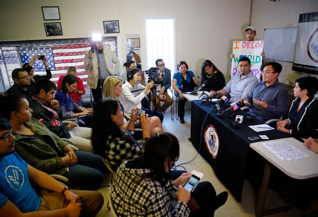 Edwin Romero happily answers questions at the news conference after he was freed from the Richardson city jail. Romero is believed to be one of the first immigrants in North Texas swept into the tough immigration crackdown of Trump. (Tom Fox/The Dallas Morning News)