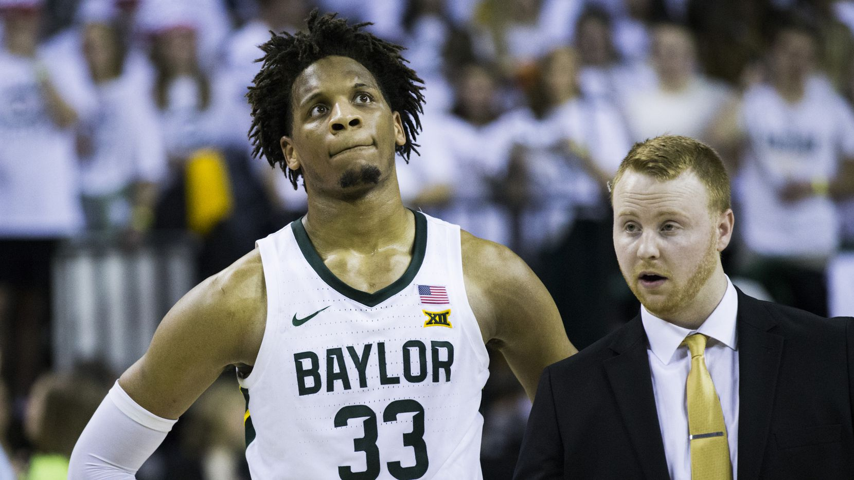 Baylor Bears forward Freddie Gillespie (33) reacts to a 64-61 loss to Kansas Jayhawks after an NCAA men's basketball game between Baylor University and Kansas University on Saturday, February 22, 2020 at Ferrell Center on the Baylor University Campus in Waco.