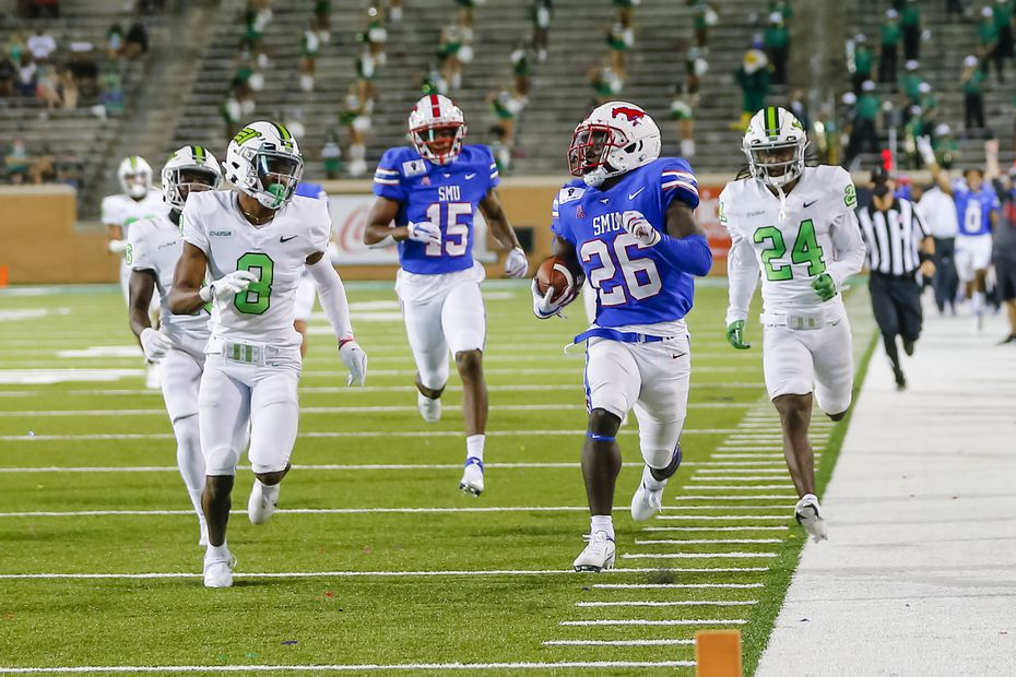 SMU running back Ulysses Bentley IV (26) runs for a touchdown during a game against North Texas on Sept. 19, 2020, at Apogee Stadium in Denton. (Photo by Matthew Pearce/Icon Sportswire via Getty Images)