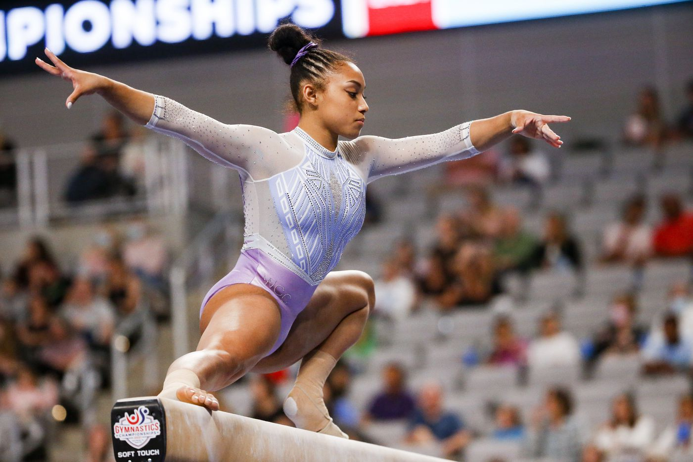 Sydney Barros competes on the balance beam during day 1 of the senior women's US gymnastics championships on Friday, June 4, 2021, at Dickies Arena in Fort Worth. (Juan Figueroa/The Dallas Morning News)