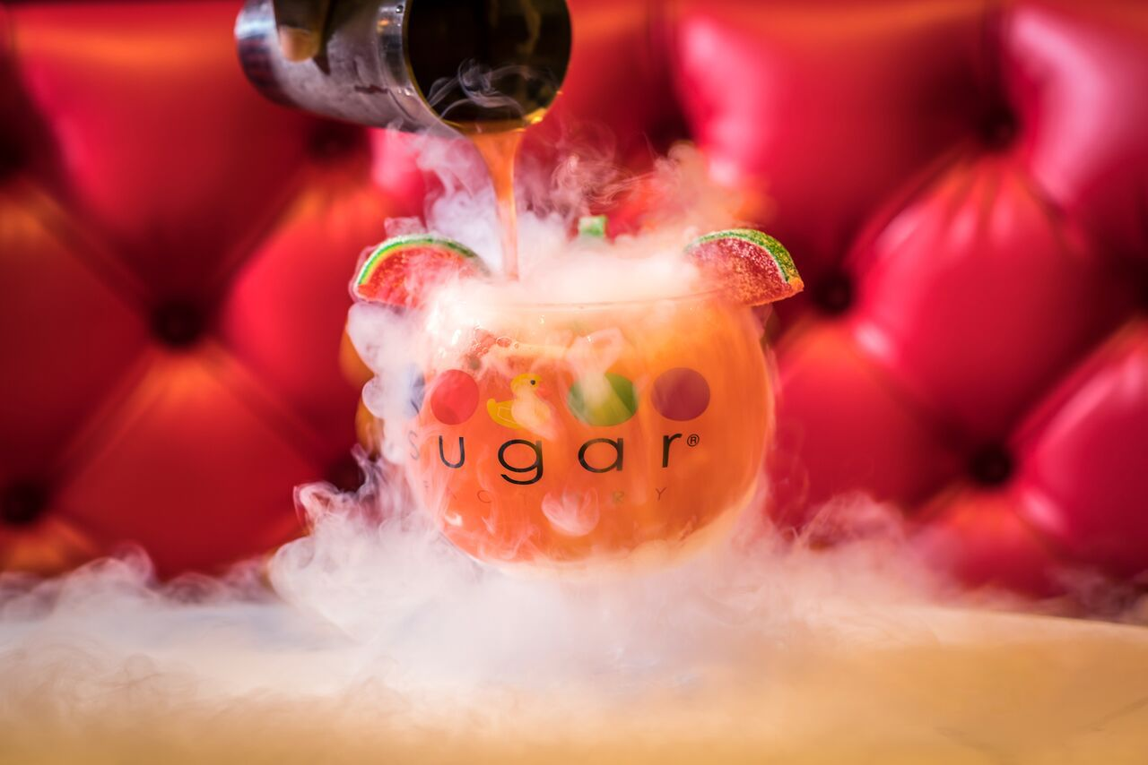 Many of Sugar Factory's cocktails are served in a 64-ounce goblet. This watermelon cocktail costs $39.