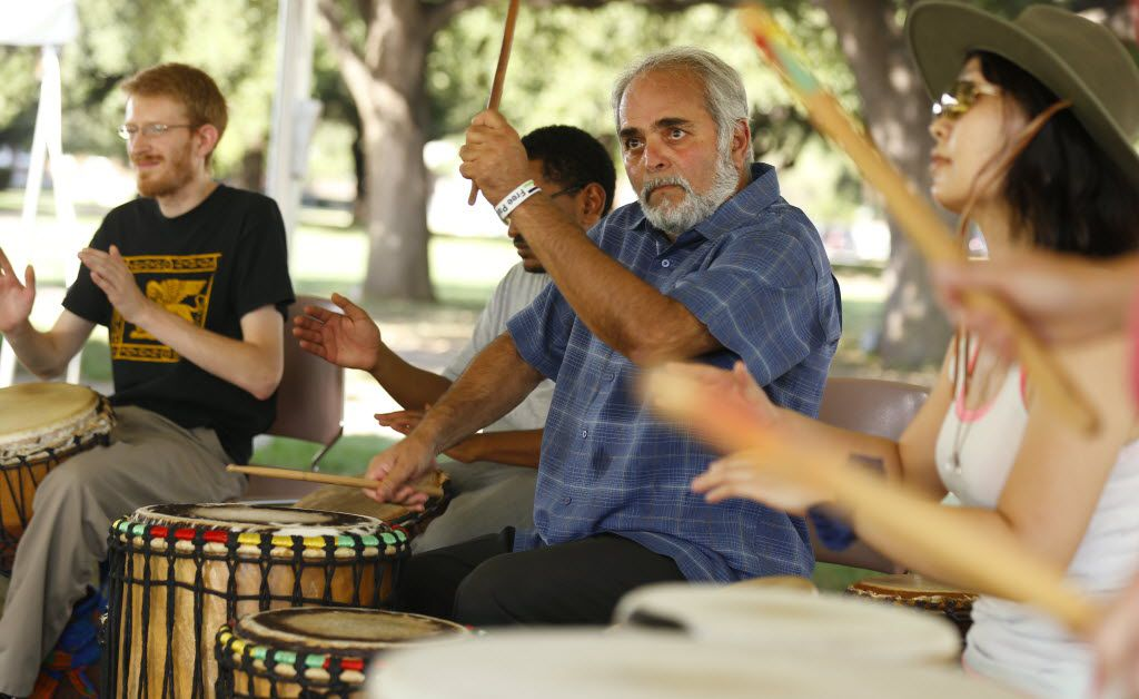 Hadi Jawad played with Drums Not Guns during the inaugural World Peace Day Dallas festival at Southern Methodist University.