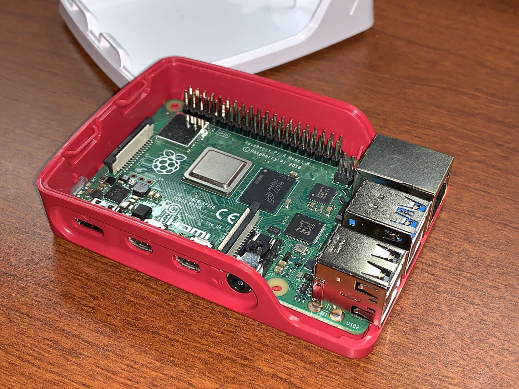 The Raspberry Pi 4 with the case