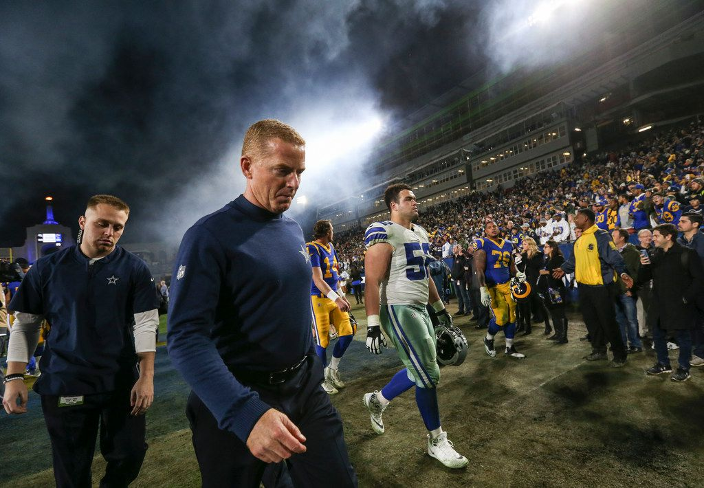 Dallas Cowboys head coach Jason Garrett exits the field following the Cowboys' 30-22 to the Los Angeles Rams in a NFC divisional playoff game Saturday, Jan. 12, 2019 at Los Angeles Memorial Coliseum in Los Angeles. (Ryan Michalesko/The Dallas Morning News)
