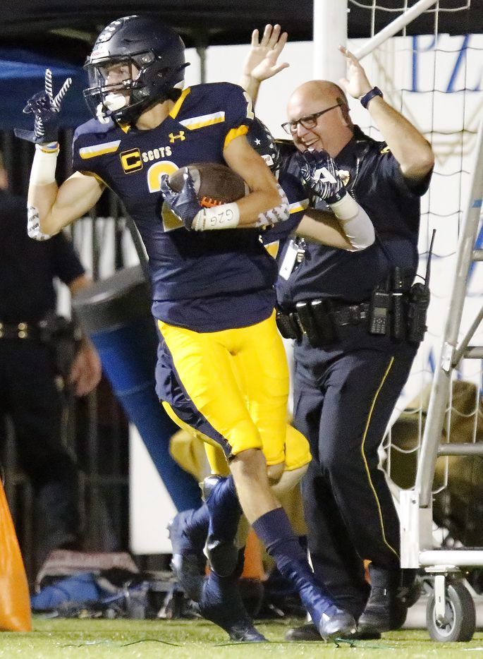 Highland Park High School wide receiver John Rutledge (2) jubilates after returning a kickoff for a touchdown during the first half as Highland Park High School hosted Rockwall High School at Highlander Stadium in Dallas on, Friday, September 17, 2021. (Stewart F. House/Special Contributor)