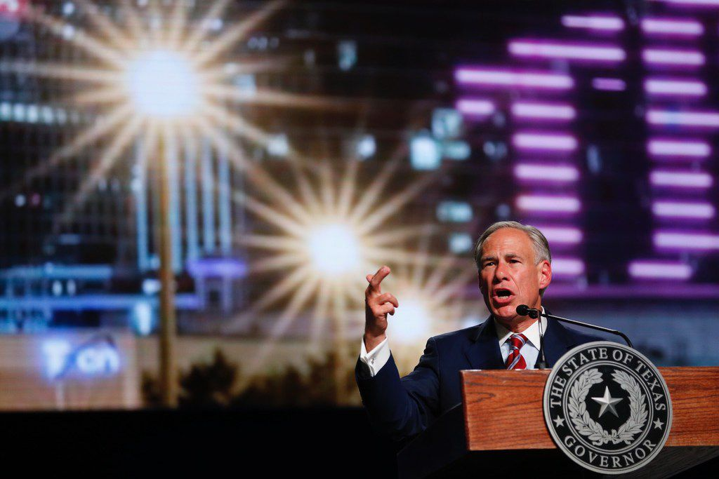 Texas Gov. Greg Abbott speaks at the 2018 Southern Baptist Convention at Kay Bailey Hutchison Dallas Convention Center in Dallas, on Tuesday, June 12, 2018.