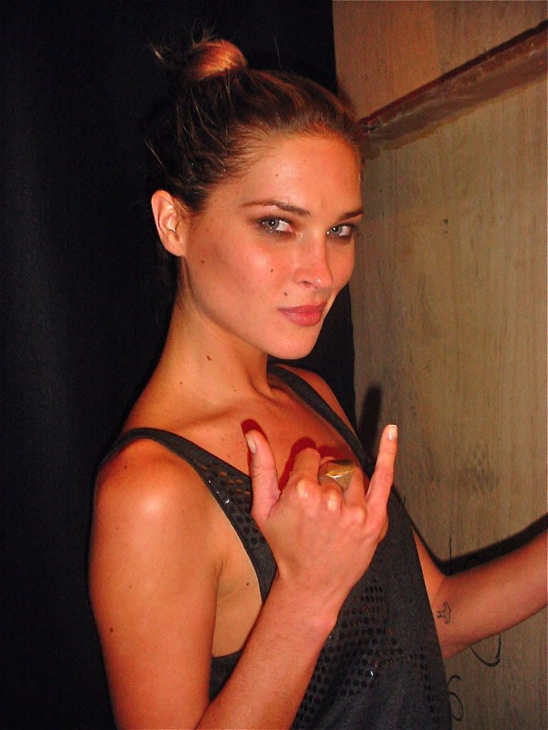 Model Erin Wasson backstage at a Kim Dawson Model Search runway show at NorthPark Center in August 2006.