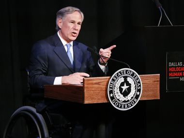 Gov. Greg Abbott spoke during a ribbon cutting ceremony last month for the Dallas Holocaust and Human Rights Museum.