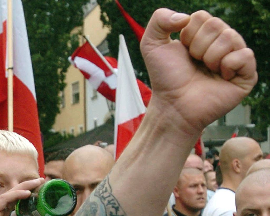 Neo-Nazi sympathizers demonstrate before a commemoration march for Adolf Hitler's deputy Rudolf Hess in the northeastern Bavarian town of Wunsiedel, where the body of Rudolf Hess was once buried.