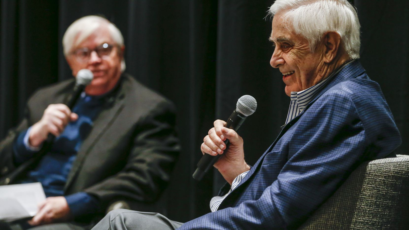 Arts and Feature Writer Michael Granberry, left, interviews former Dallas Morning News reporter Hugh Aynesworth during a Duets event on Wednesday, Oct. 30, 2019 in Dallas. In November 1963, Aynesworth witnessed the JFK assassination in Dealey Plaza and saw suspected assassin Lee Harvey Oswald gunned down by Jack Ruby in the basement of the old Dallas police station.
