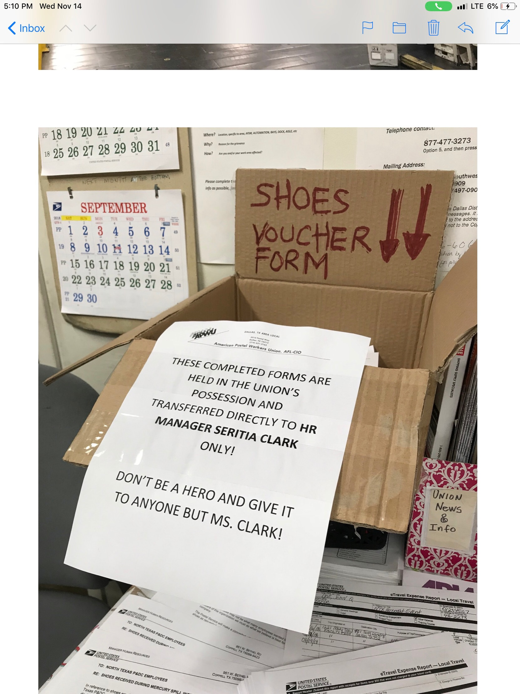 Employees at the North Texas mail processing center in Coppell were ordered to turn in shoes they wore a day after a 2018 mercury spill. Forms were collected in which workers declared the value of their shoes.