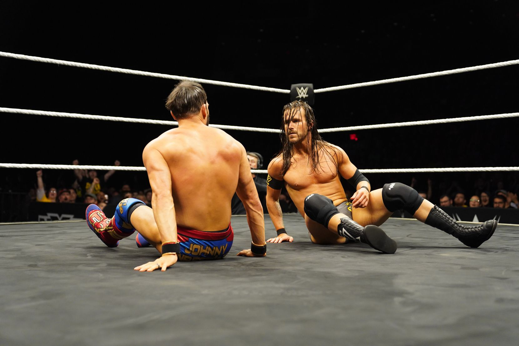 Adam Cole and Johnny Gargano stare each other down during their NXT championship match at NXT: TakeOver XXV
