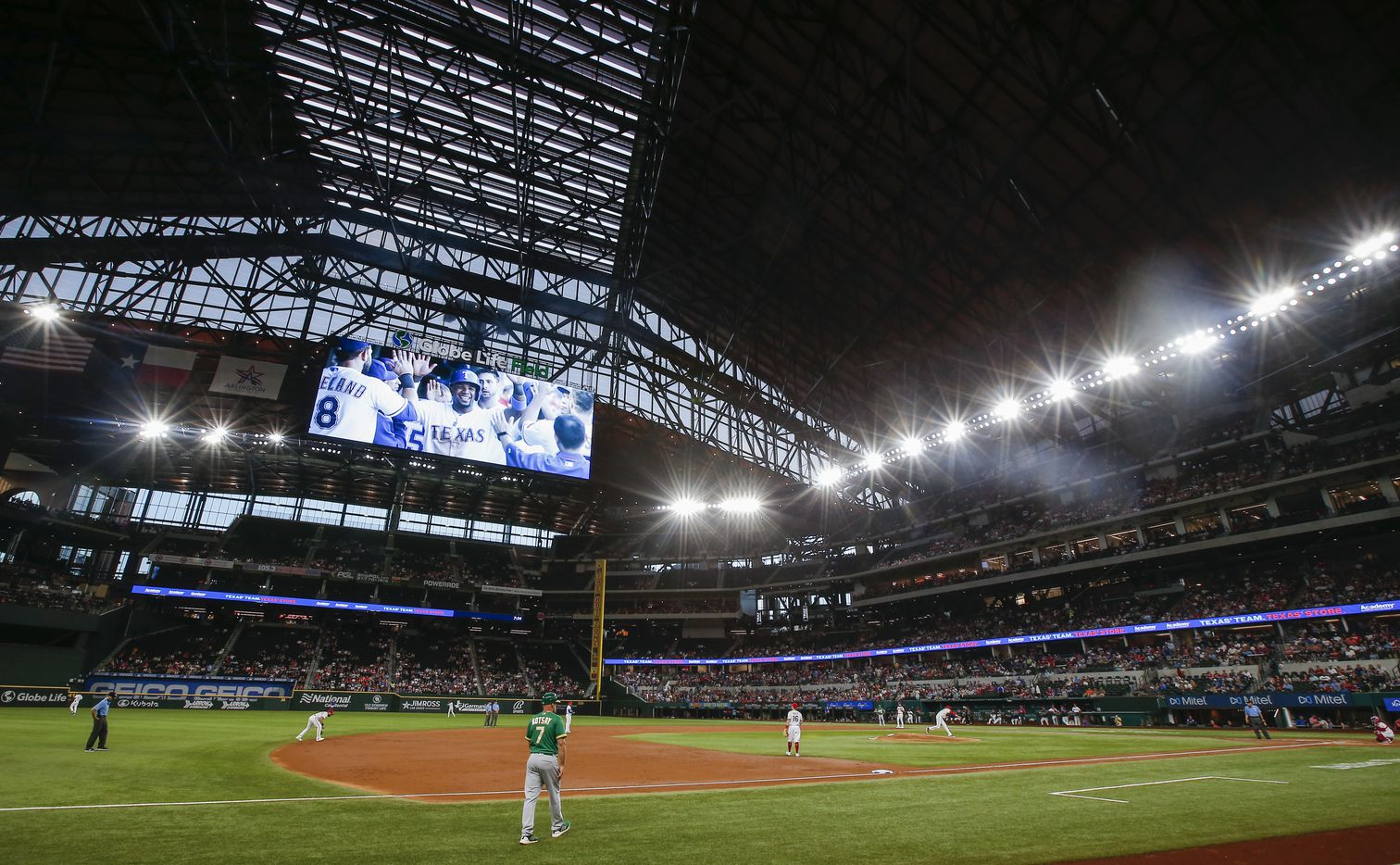 A video montage of former Texas Rangers', and now Oakland Athletics shortstop Elvis Andrus, plays on the video board during a baseball game in Arlington, Monday, June 21, 2021. (Brandon Wade/Special Contributor)