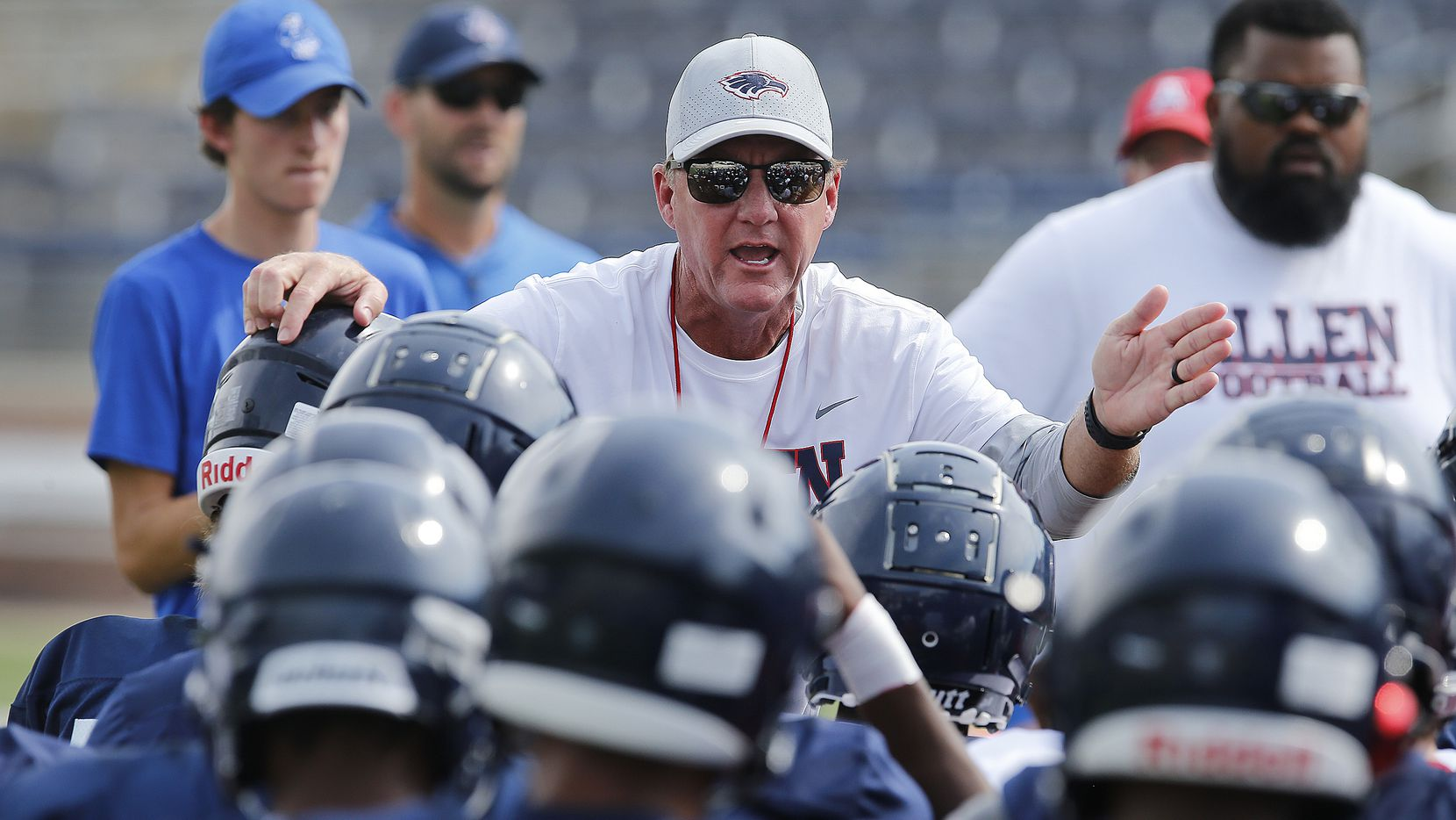 Allen High School head football coach Chad Morris talks to his team before practice after  Allen High School held media day on Saturday morning, August 14, 2021. (Stewart F. House/Special Contributor)