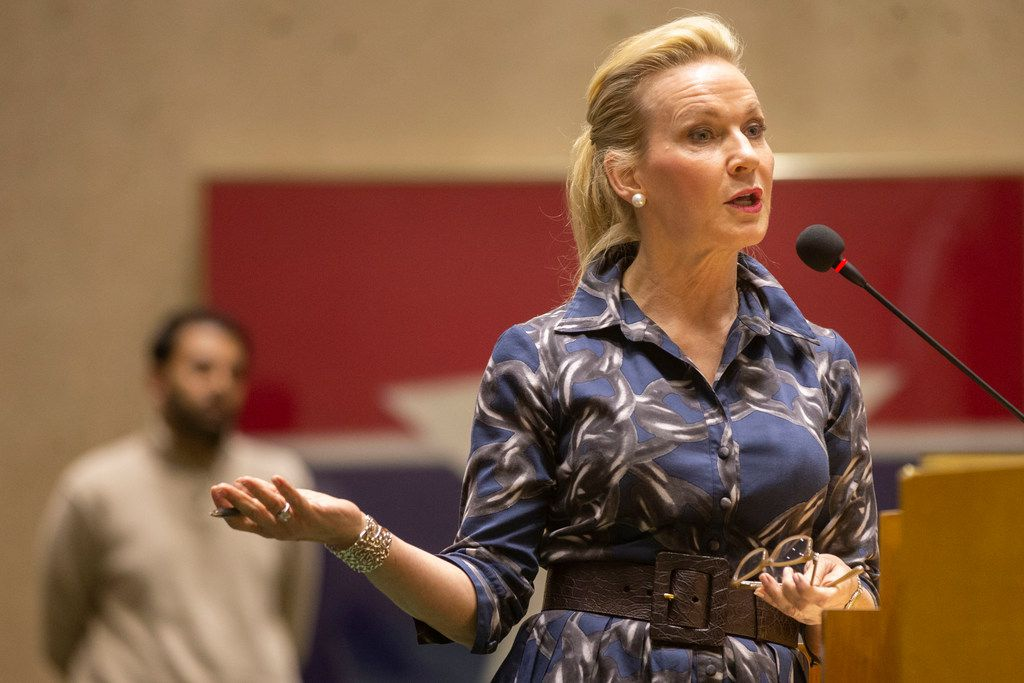 Tomima Edmark spoke against the the Salvation Army's proposed 20-acre homeless campus Thursday at Dallas City Hall.