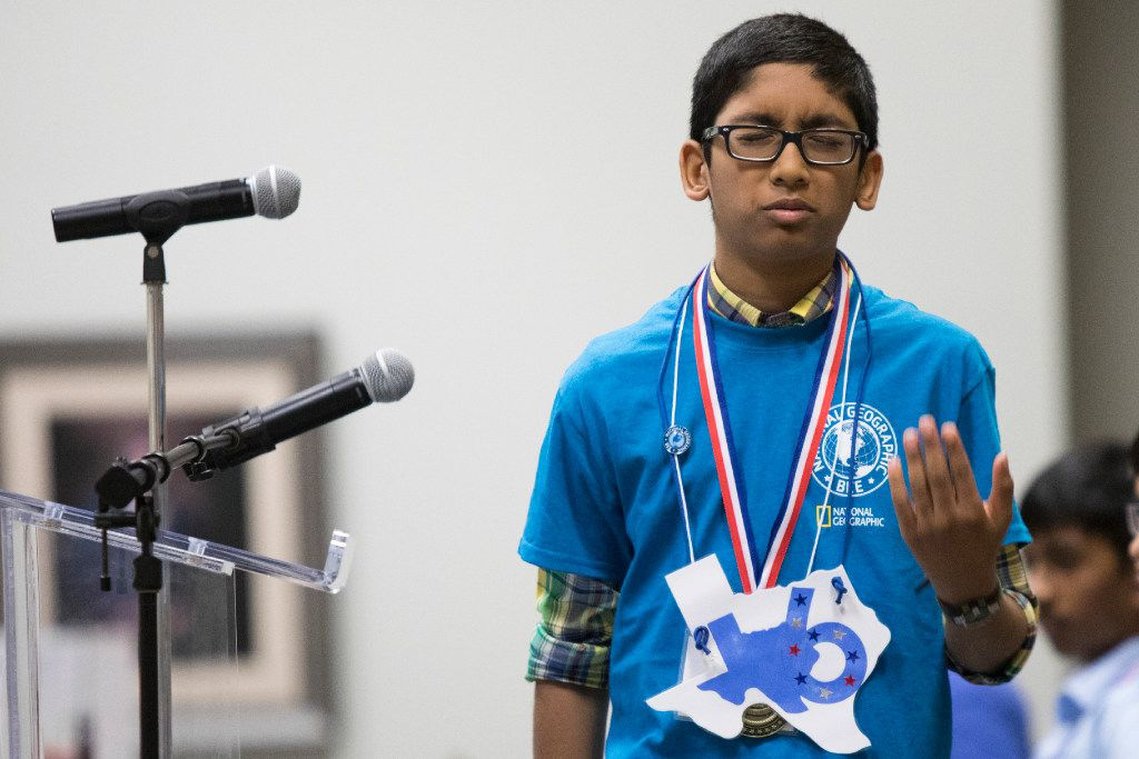 Arman Saxena made the final round of the bee but was doomed by a wrong answer. (Special Contributor/Andrew Buckley)