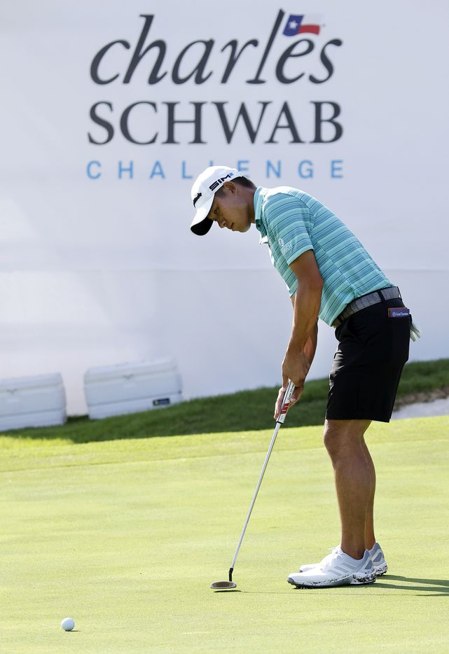 Golfer Collin Morikawa putts on No. 9 during the Charles Schwab Challenge Colonial Pro-Am at the Colonial Country Club in Fort Worth, Wednesday, May 26, 2021. Morikawa lost in a playoff to Daniel Berger last year. (Tom Fox/The Dallas Morning News)